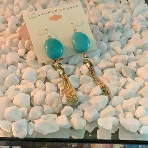 Gold Turquoise Tassel Earrings